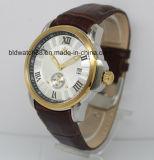 Vigilância Automática 5ATM de banda de couro Relógios de pulso de ouro para os homens vestem