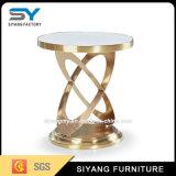Tabla de oro rosa de acero inoxidable muebles de vidrio, blanco Side
