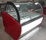 (Showcase à congélateur à la crème glacée aux panneaux ronds avec double porte