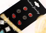 Insiemi dell'orecchino della vite prigioniera del foglio dell'annata per De Aros rossa di cristallo del turchese delle donne e della Stone Set