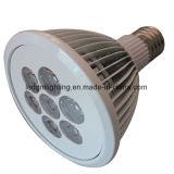 Cubierta con aletas blancas E27 PAR38 9W Lámpara LED