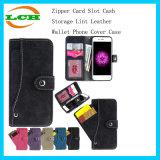 Caso del coperchio del telefono del raccoglitore del cuoio del lint di memoria dei contanti della fessura per carta della chiusura lampo per il iPhone 7