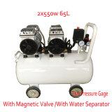 2X550W 65L mit doppeltem Druckanzeiger-magnetischem Ventil Gleichstrom-Schrauben-Luftverdichter