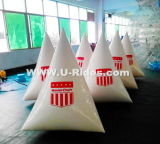 Boa gonfiabile del galleggiante del triangolo bianco per gli eventi dell'acqua