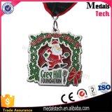 Maratona de Natal Running Item Fluorescent Green Glitter Metal Medals