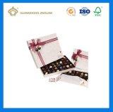 Rectángulo de empaquetado del chocolate de papel de lujo rígido de lujo duro hecho a mano (con los nudos de seda de la mariposa de la cinta)