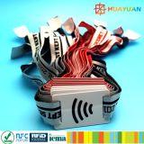 Wristband tessuto RFID del braccialetto del E-biglietto NTAG213 NFC di festival di musica