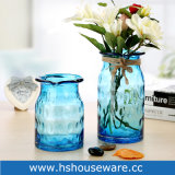 Oceaan Blauwe Hand - de gemaakte Vaas van het Glas met de Kabel van de Jute