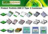 Usb-Verbinder, USB3.0 Typ C, doppeltes Plattform-C + C, rechtwinkliger Schaltkarte-Typ, Haltbarkeit: 10000 Schleifen