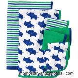 Gestrickte Baumwolle gedruckte Babyzudecke und Washcloth stellten in China ein