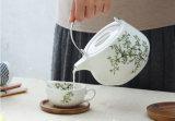 陶磁器のティーセットのスーツの簡単な木のクッションのティーカップのTamilyの簡単なコーヒーカップの版