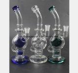 Três - Tubulação de água de vidro da cor para o tabaco do filtro que recicl a tubulação