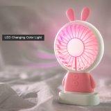 2018 Nuevo diseño de conejo precio barato USB Mini portátil ventilador con luz LED