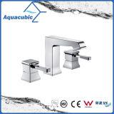 Colpetto del bacino cromato ottone del rubinetto di lavabo dei tre fori (AF0033-6)