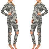 Comercio al por mayor impresión Loom-State Chándal de camuflaje de moda para mujer