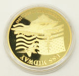 Ricos de chapado de metal precioso recuerdo de prueba moneda con cápsula