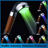 Showerhead colorido de temperatura controlada del agua de la pista del arco iris de Hotsale LED