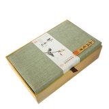 Comercio al por mayor especial personalizados de papel de regalo de madera con forma de concha de té Caja de embalaje con forro de seda