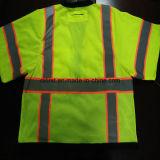 La seguridad T-Shirt con banda reflectante precaución 100%Poliéster TEJIDO tejido