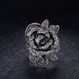 Anel Shaped da venda por atacado do volume do metal do ouro da flor de cristal