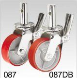 Roter PU-Gestell-Roheisen-Naben-Schwenker mit Bremsen-Fußrolle