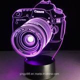 OEM 3D'appareil photo numérique reflex lumière de nuit 7 LED lampe de table de changement de couleur