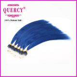 El cabello de Quercy Mayorista de color azul humano Natural calidad Remy Micro Anillo Bucle de pelo (KH-004)