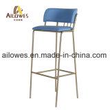 Restaurante Bar Azul em aço inoxidável de ouro de mobiliário de couro PU alta contrapressão Cadeira Banqueta
