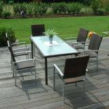 Таблица и стулы ротанга PE мебели отдыха кафа двора балкона Aluminumm нержавеющей стали металла напольные обедая