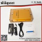 2018 Nuevo diseño de amplificador de señal 900/1800/2100 MHz Tri repetidor de señal de banda para el hogar utilizando