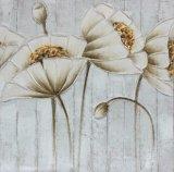 La pintura al óleo caliente del estilo de la flor del arte de la pared de la venta con la flor del oro oye