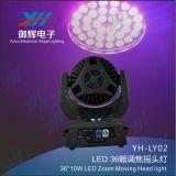 LED 36PCS 8W 4 in 1 indicatore luminoso capo mobile della fase dello zoom