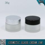 Sahne-Glas des bereiften Glas-30ml mit Aluminiumüberwurfmutter