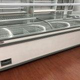 700L Freezer Showcase Supermercado Porta de vidro deslizante Ilha Congelador