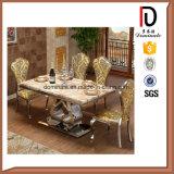 Presidenza dorata dell'acciaio inossidabile della mobilia della sala da pranzo di banchetto di vita del ristorante dell'hotel della Rosa di ovale della parte posteriore di evento di cerimonia nuziale domestica moderna del partito