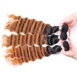 Ombreのペルーの緩く深い織り方の毛4束のOmbreのバージンのペルーの緩く深いカールの毛のかぎ針編み1b/Blonde/Darkブラウンの織り方の毛