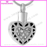 Forma do coração com aço inoxidável dos pendentes do Urn dos Keepsakes da cremação dos cristais de Rosa