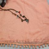 Écharpe de polyester d'accessoire de mode de dames, châle de loisirs de filles avec le gland