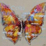 Peinture à l'huile acrylique à l'huile avec papillon pour décoration murale