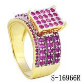 Nuovo anello di diamante dei monili di modo di arrivo con oro 14k placcato