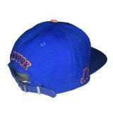 Coton bleu personnalisé cuir synthétique Cap Sports broderie Hat Cap Snapback