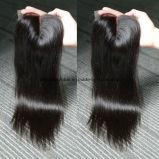 Vollkommene Abgleichung-brasilianische Jungfrau-Haar-Bündel mit Spitze-Schliessen gerade