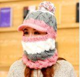 Lado Tricô personalizado tem proteção contra o casco da tampa de Inverno de capuz Neckwarmer Hat