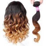 Weave frouxo do cabelo de Remy dos pacotes do cabelo da onda do cabelo peruano de Ombre ondulado
