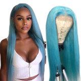 Синего цвета волос человека полностью кружевной Wig бразильского волосы прямые Wig человеческого волоса в полной мере кружева Virgin Wig Бразилии