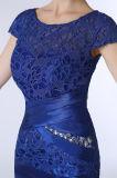 Matte Satin Knee-Length Lace Mãe do vestido da noiva com jaqueta / xale (Dream-100060)