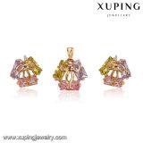 62654 Venta caliente 18k oro plateado colorido diseño del lazo conjunto de joyas