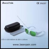 Alta calidad para el rojo 635nm y laser del diodo 808nm y 980nm que blinda las gafas de seguridad de laser de las gafas (RTD-3 630-660nm y 800-1100nm) con el marco blanco 52