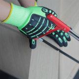 Nmsafety Hi-Viz enrobés de nitrile jaune sable TPR gant résistant aux chocs
