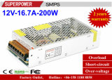 fuente de alimentación de la conmutación de 12V 16.7A 200W para la iluminación del LED